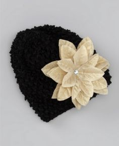 Baby Crochet Holiday Charm Gold Poinsettia Hat