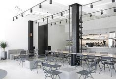 Ezer coffee cafe shop design, seoul cafe, modern cafe, coffee and books, mi Minimalist Interior, Modern Interior, Interior Design, Interior Paint, Kitchen Interior, Seoul Cafe, Cafe Shop Design, Cafe Concept, Shop House Plans
