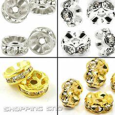 100pcs Premium Quality Czech Crystal Rhinestones on  Wavy/Round & Gold/Silver/Gunmetal Rondelle Spacer Beads