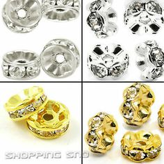 100pcs Premium Quality Czech Crystal Rhinestones on  Wavy/Round & Gold/Silver/Gunmetal Rondelle Spacer Beads
