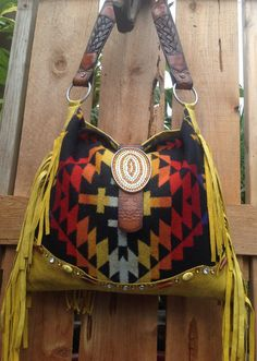 Pendleton Wool & Yellow Distressed Leather  by DoubleJOriginals, $325.00  ******SOLD*******to Janet ....Thank you...