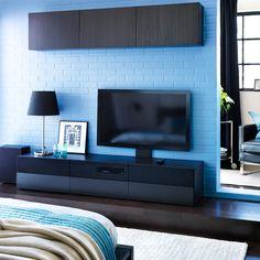 best aufbewahrungskombination zur wandmontage mit schiebet ren schwarzbraun ikea wohnzimmer. Black Bedroom Furniture Sets. Home Design Ideas