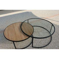 Table basse ronde double PRADO Industriel D 110 X H 42 1 plateau en Chêne et 1 en verre PIER IMPORT