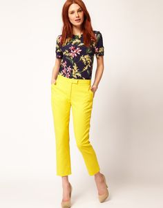 yellow pants and floral top