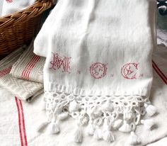 Antique French White Linen Redwork