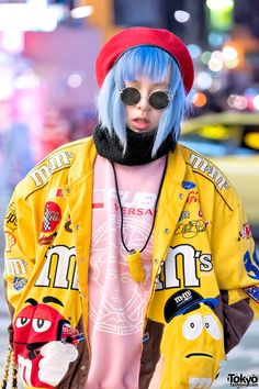 "Shoshipoyo on the street in Harajuku wearing a matching ""Versace & FUBU"" top. - Shoshipoyo on the street in Harajuku wearing a matching ""Versace & FUBU"" top. Tokyo Street Fashion, Tokyo Street Style, Japanese Street Fashion, Japan Fashion, Korean Fashion, Japan Street, Mode Harajuku, Harajuku Girls, Harajuku Fashion"