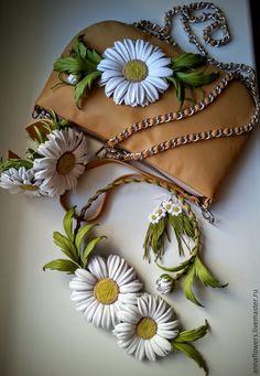 Купить Ромашковый комплект из кожи - белый, ромашки, полевые цветы и травы, кожаные цветы