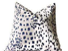 Pillow, Brunschwig & Fils Les Touches Blue Designer Pillow, Decorative Throw  Pillow Blue  Pillow  Cushion Cover