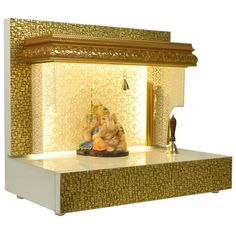 The Mandir Store manufacturer of designer wooden mandirs for home brings to you classical mandir in a contemporary finish and style. Mandir is water resistant and very easy to clean with mild soap solution. Temple Design For Home, Wooden Temple For Home, Mandir Decoration, Mandir Design, Pooja Mandir, Pooja Room Door Design, Puja Room, House Front Design, Prayer Room