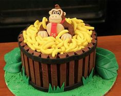 Monkey cake.  Link only goes to picture but you can figure out how to make by looking at the pic- Kit Kat bars and banana shaped candy with either plastic monkey or make your own monkey from fondant or molded chocolate.