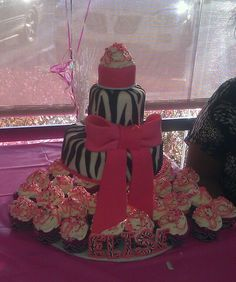 "Zebra first birthday cake (top is ""smash cake"")"