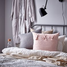 IKEA - AINA, Cushion cover, gray, The cushion cover is made of linen, a durable natural material with slightly irregular texture. The ties make the cover easy to remove and adds a decorative detail. Cushion Pads, Cushion Covers, Recycling Facility, Ikea Family, Home Fix, White Barn, Cover Gray, Cushions, Locs