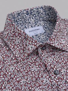 Elegant Floral Shirt in BURGUNDY   Luxury Men's Shirts   Designer Shirts   Duchamp London Ready To Wear Duchamp London