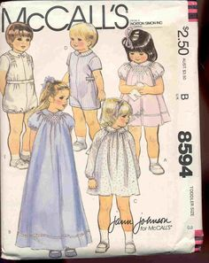 UNCUT  Size 4 ca. 1983  by Jann Johnson    Sweet toddler outfits with optional smocking in a V at neckline for the dress and at the shouders on the