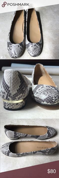 """🆕 Talbots Crisa Snakeskin Flats Brand New, Never Worn, Comes with box !!! Gorgeous snakeskin leather round toe with 3/4"""" heel with gold accent. Made in China. Perfect for work or date night. Love the shoes, not the price...Make me an offer Talbots Shoes Flats & Loafers"""