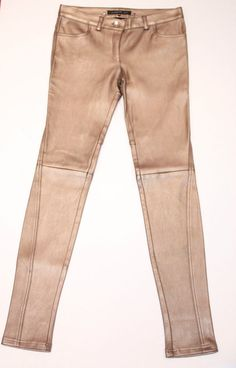 $2K BARBARA BUI Runway Collection GOLD Lamb LEATHER Trouser SKINNY Slim PANTS 38 #BarbaraBui #LeatherSlimTrouser2frontpocketsbeltloops