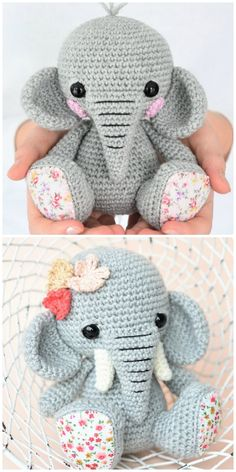 Learn how to make this Crochet Elephant Amigurumi. We have a video tutorial to show you how plus plenty of adorable ideas including a free pattern you won't want to miss. Crochet Baby Toys, Crochet Amigurumi Free Patterns, Crochet Animal Patterns, Crochet Bunny, Stuffed Animal Patterns, Cute Crochet, Crochet Crafts, Crochet Dolls, Crochet Projects