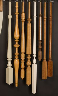 Stair Spindles, Stair Parts, Room Dividers Wood Table Legs, Wood Furniture Legs, Dining Table Legs, Interior Staircase, Staircase Banister Ideas, Staircase Design, Stairs Balusters, Wood Handrail, Pooja Room Door Design