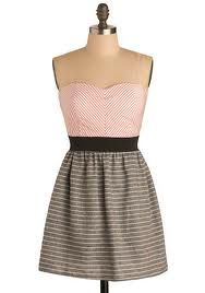 Pink bodice Black and White striped skirt