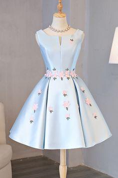 Cute blue satin short flower sweet 16th prom dress, homecoming dress