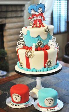 Thing 1 2 Twins' Birthday Cake