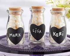 Vintage Milk Bottles with Chalk Heart Labels Bridal Wedding Favor Container http://stores.ebay.com/Lotus-Flower-Weddings-and-Events