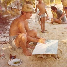 Photo of my father painting on the beach.  http://sisetserinya.blogspot.com.es/