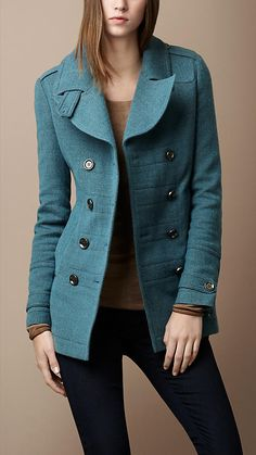 Wool and cotton pea coat with elegant pleated back
