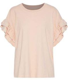 Shop on-sale The Carina ruffle-trimmed cotton-jersey top. Browse other discount designer Short Sleeved Top & more luxury fashion pieces at THE OUTNET Fashion Outlet, Discount Designer, Style Icons, Fitness Models, Retail, Short Sleeves, Mens Tops, Cotton, Pastel Pink