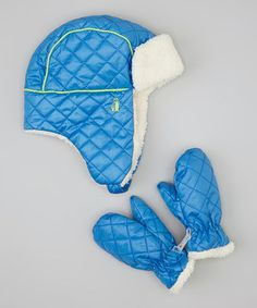 Look at this #zulilyfind! Electric Blue Quilted Trapper & Mittens by Rugged Bear #zulilyfinds