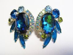Purple Accents, Teal, Blue, Green Stone, Vintage Earrings, Peridot, Earring Set, Olive Green, Costume Jewelry