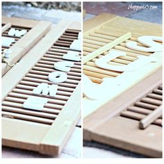 How To Make Word Art With A Shutter Decor Crafts, Diy Home Decor, Diy Crafts, Fall Placemats, Wood Shutters, Small Shutters, Craft Projects, Projects To Try, Craft Ideas