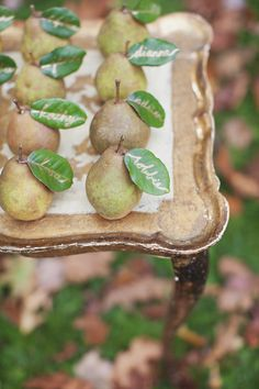 #escort-cards, #fall, #pear, #apple  Photography: Boonetown Story - www.boonetownstory.com  View entire slideshow: 15 Ideas for Fall Fruit  on http://www.stylemepretty.com/collection/608/