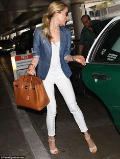 all white + chambray blazer | kristin cavallari. usually I think white on white should be illegal but this is an exception