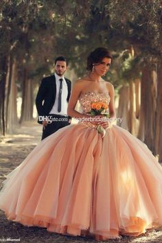 2015 New Quinceanera Dresses Strapless Coral Organza Crystals Beaded Laces Up Back Ball Gown Debutante Dress Vestidos De Ga Ball Gown Q115, $160.12 | DHgate.com