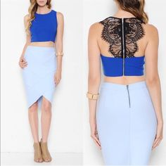 DOROTHY lace crop top -BLUE/WHITE HPx2How drop dead gorgeous is this cutie? A crop top featuring a round neckline. Sleeveless. Lace scalloped back detailing. Zipper back closure. Finished hem. Tops Crop Tops