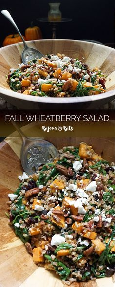 Fall wheatberry salad with sweet potatoes and maple curry vinaigrette