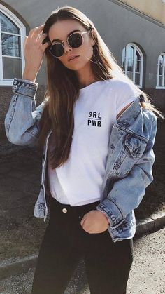 cute street style / denim jacket + white top + jeans