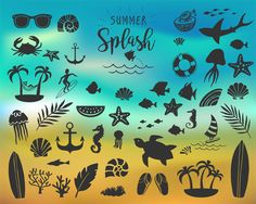Summer vintage silhouettes and doodles realy great for logo, quotes, poster, t-shirt, label, sticker and any vintage design with summer theme.