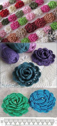 Watch The Video Splendid Crochet a Puff Flower Ideas. Phenomenal Crochet a Puff Flower Ideas. Flower Motif, Crochet Puff Flower, Crochet Flower Tutorial, Crochet Leaves, Crochet Flower Patterns, Crochet Designs, Crochet Flowers, Crochet Diagram, Crochet Chart