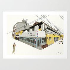 Public Bath and Barbershop, Kyoto Art Print by Ryo Takemasa
