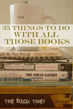 35 Things To Do With All Those Books - All of these ideas are absolutely lovely and appeal toe the clutter-hound in me! Love Reading, Book Nerd, Storing Books, I Love Books, Great Books, Books To Read, Old Books, Book Club Books, Libraries