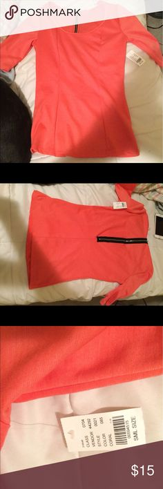 Adorable coral three quarter sleeve shirt! Super cute coral three quarter sleeve blouse! Never been worn still has tags on! Black zipper up the back with a slight peplum feel! More pictures posted upon request! Bundle and save 10%! Reasonable offers accepted! PacSun Tops Blouses