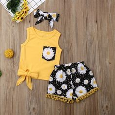Buy Toddler Baby Kids Clothes Girls Bow Flowers Vest Tops Shorts Hairband Set Children Clothes Summer Outfits Vetement Enfant Fille at Wish - Shopping Made Fun Girls Summer Outfits, Little Girl Outfits, Little Girl Fashion, Summer Girls, Kids Fashion, Summer Time, Fashion Top, Summer Baby, Toddler Fashion