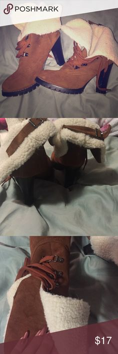 Brown and white shearling style heel boots w/ fur Super cute worn twice. Lace up fluffy shearling with buckle accents. Kim k style. Halloween lumber jack. Not wild diva unbranded Wild Diva Shoes Heeled Boots