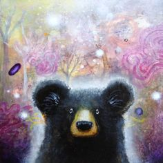 A print of my Bear Painting called Whoa . Print size is 8.5 x 11 and actual image size is 7x7    I will lightly title and sign your print below the image    My prints are created on archival papers with archival inks. Shipped in a cello bag inside a sturdy cardboard mailer. Thanks for looking!    ----------------------------------------------------------------    www.etsy.com/shop/scottmillsart