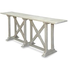 This whitewashed X base console features two intersecting trestles that support a solid wood white washed top. This is the perfect console to put in a dining room with two hutches. Love this console f Shabby Chic Console Table, Gray Console Table, French Console Table, Buffet Console, Rustic Console Tables, Farmhouse Buffet, Rustic French Country, Furniture Decor, Whitewash Furniture