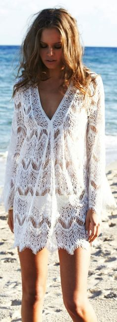 Gorgeous white lace detail beach dress