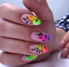 Lime Nails, Yellow Nails, Almond Nail Art, Almond Nails, Bright Nails, Pastel Nails, Great Nails, Fun Nails, Stylish Nails