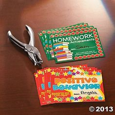 Homework and Positive Behavior Punch Cards...such a good idea